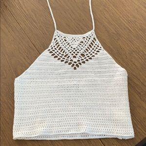 White crop crochet top